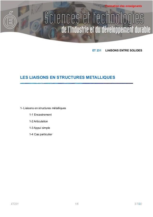 Formation des enseignants                                                      ET 231   LIAISONS ENTRE SOLIDES        LES ...
