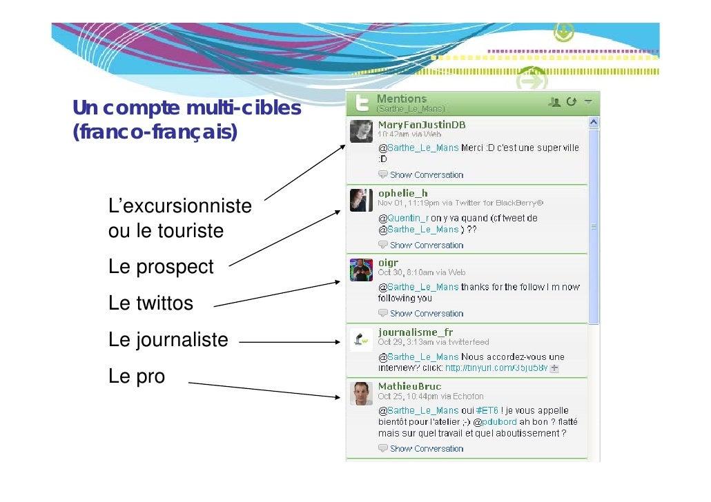 Un compte multi-cibles(franco français)(franco-français)   L'excursionniste   ou le touriste   Le prospect   Le twittos   ...
