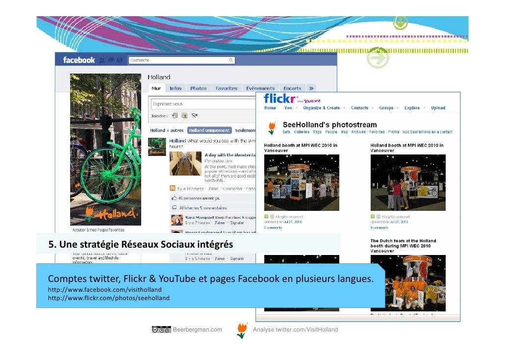 5.UnestratégieRéseauxSociauxintégrésComptestwitter,Flickr&YouTubeetpagesFacebookenplusieurslangues.http://w...