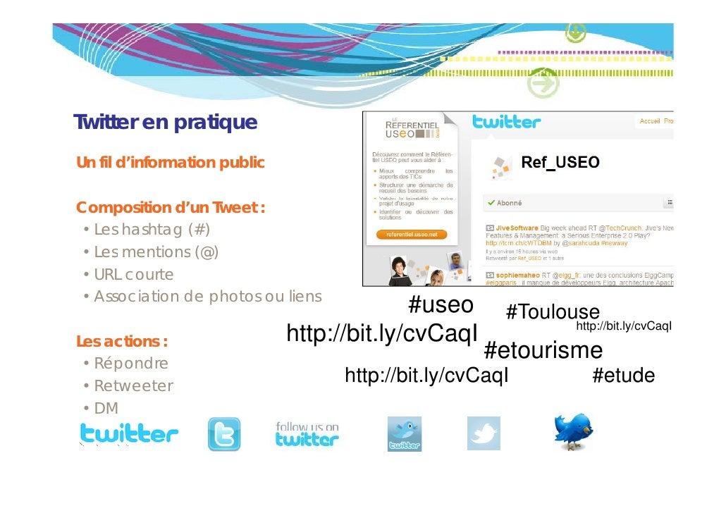 Twitter en pratiqueUn fil d'information publicComposition d'un Tweet :• Les hashtag (#)• Les mentions (@) • URL courte • A...