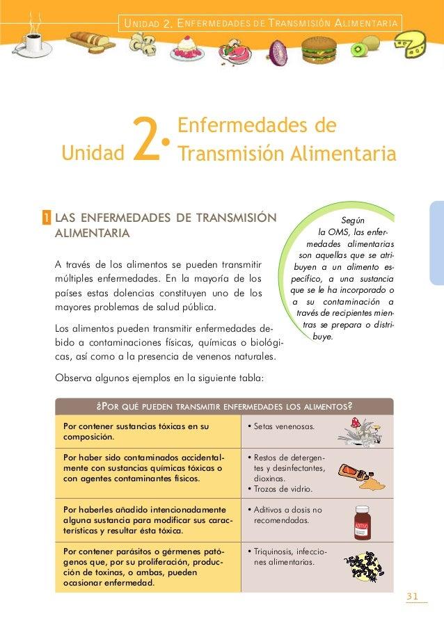 LAS ENFERMEDADES DE TRANSMISIÓNALIMENTARIAA través de los alimentos se pueden transmitirmúltiples enfermedades. En la mayo...