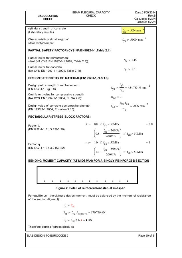 CALUCLATIION  SHEET  BEAM FLEXURAL CAPACITY  CHECK  Date:01/09/2014  Rev:B  Calculated by:VN  Checked by:VN  cylinder stre...