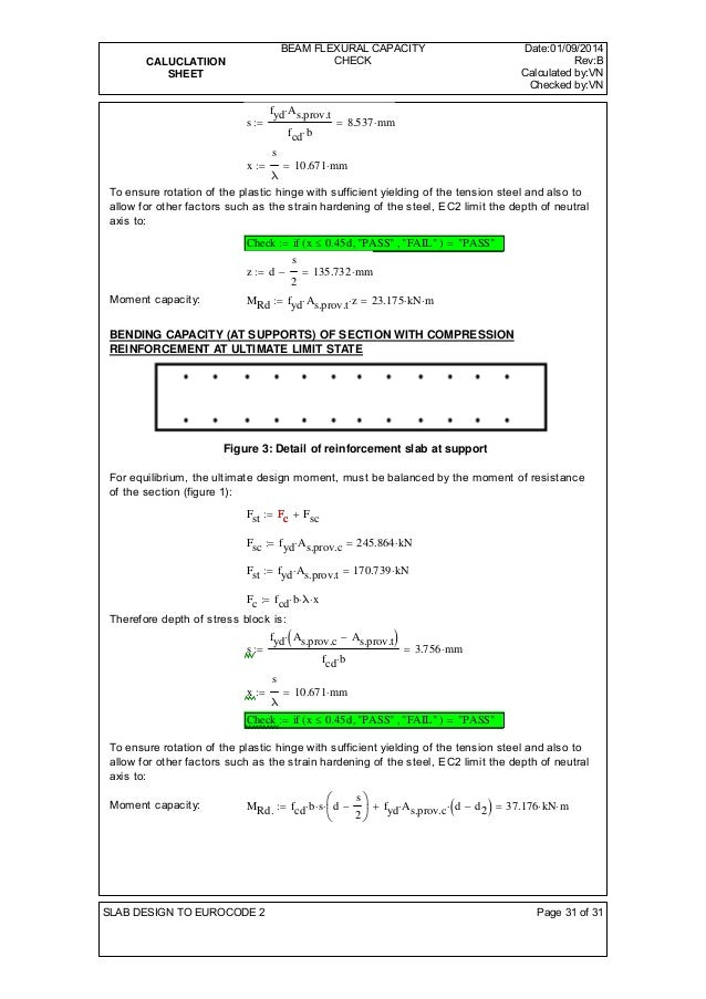 CALUCLATIION  SHEET  BEAM FLEXURAL CAPACITY  CHECK  Date:01/09/2014  Rev:B  Calculated by:VN  Checked by:VN  s  fydAs.pro...