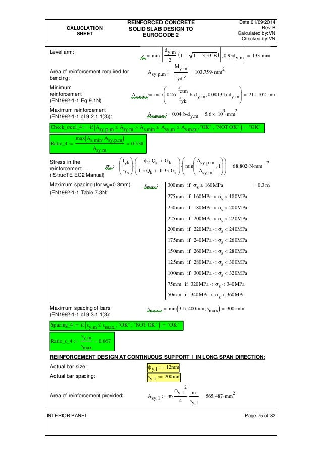 CALUCLATIION  SHEET  REINFORCED CONCRETE  SOLID SLAB DESIGN TO  EUROCODE 2  Date:01/09/2014  Rev:B  Calculated by:VN  Chec...