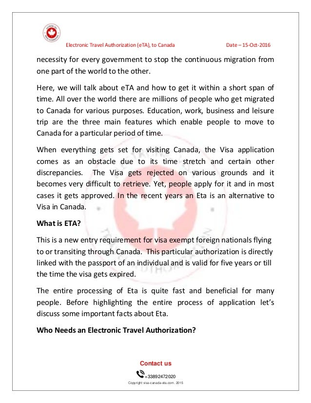 Us Citizen Travel To Canada Eta