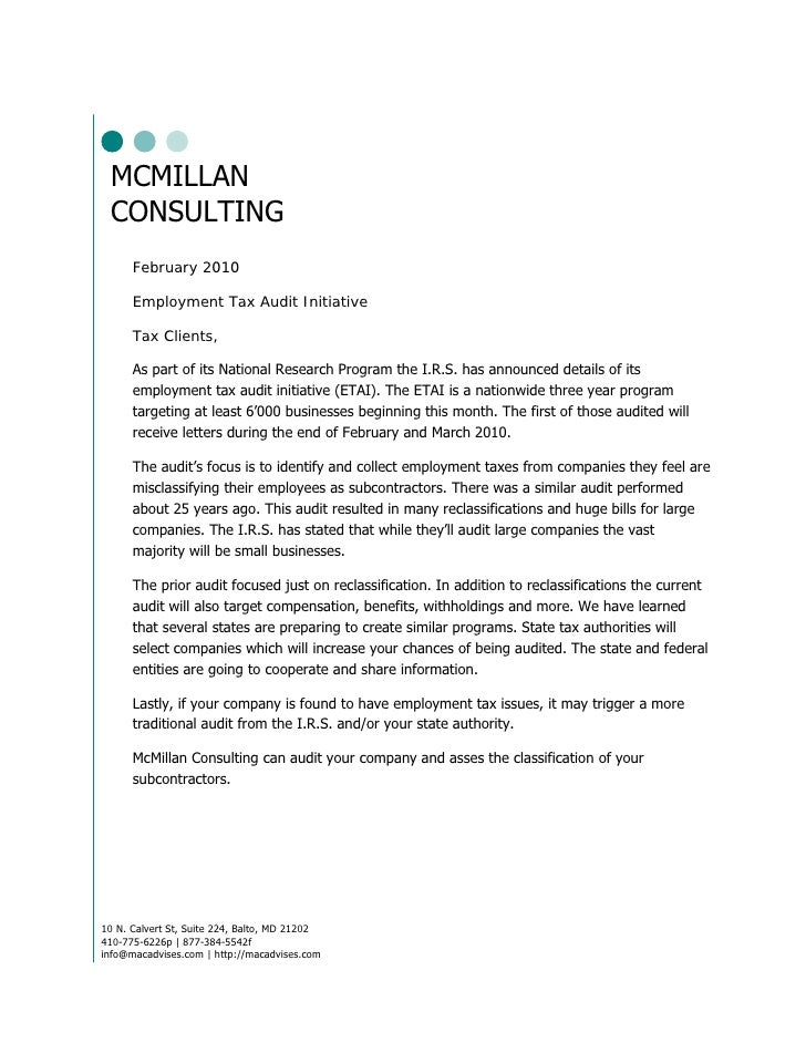 MCMILLAN  CONSULTING       February 2010        Employment Tax Audit Initiative        Tax Clients,        As part of its ...