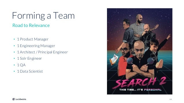 10 • 1 Product Manager • 1 Engineering Manager • 1 Architect / Principal Engineer • 1 Solr Engineer • 1 QA • 1 Data Scient...