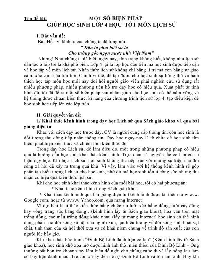 Tên đề tài:                      MỘT SỐ BIỆN PHÁP            GIÚP HỌC SINH LỚP 4 HỌC TỐT MÔN LỊCH SỬ       I. Đặt vấn đề: ...
