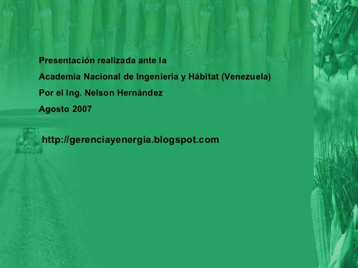 Presentación realizada ante la Academia Nacional de Ingeniería y Hábitat (Venezuela) Por el Ing. Nelson Hernández Agosto 2...