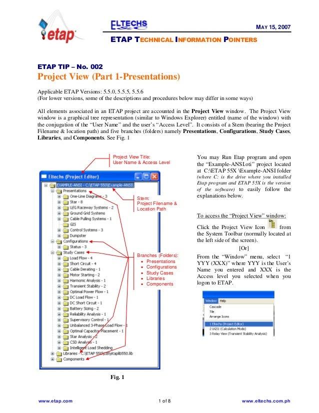 www.etap.com 1 of 8 www.eltechs.com.ph MAY 15, 2007 ETAP TECHNICAL INFORMATION POINTERS ETAP TIP – No. 002 Project View (P...