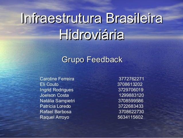 Infraestrutura BrasileiraInfraestrutura BrasileiraHidroviáriaHidroviáriaGrupo FeedbackGrupo FeedbackCaroline Ferreira 3772...