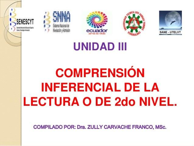 UNIDAD IIICOMPRENSIÓNINFERENCIAL DE LALECTURA O DE 2do NIVEL.COMPILADO POR: Dra. ZULLY CARVACHE FRANCO, MSc.