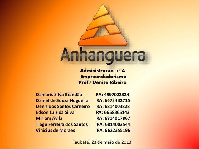Administração 1º A Empreendedorismo Prof.ª Denise Ribeiro Damaris Silva Brandão RA: 4997022324 Daniel de Souza Nogueira RA...