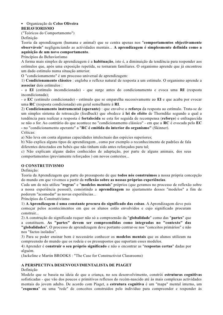 """•   Organização de Celso Oliveira BEHAVIORISMO (""""Teóricos do Comportamento"""") Definição Teoria da aprendizagem (humana e an..."""