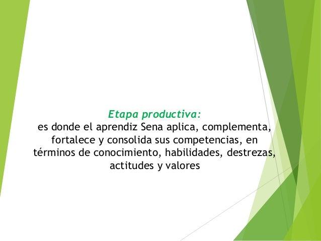 Etapa productiva: es donde el aprendiz Sena aplica, complementa, fortalece y consolida sus competencias, en términos de co...