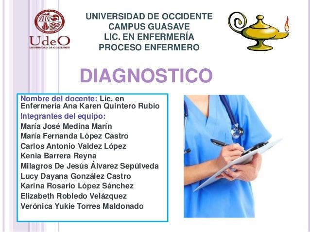 DIAGNOSTICO Nombre del docente: Lic. en Enfermería Ana Karen Quintero Rubio Integrantes del equipo: María José Medina Marí...