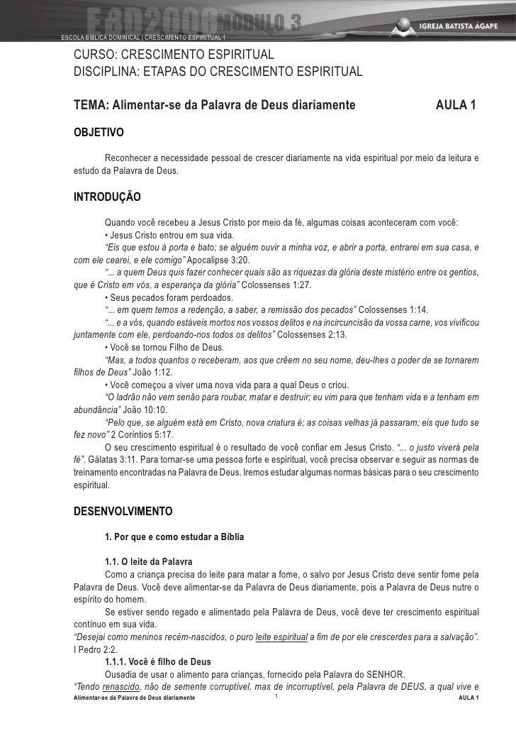 ESCOLA BÍBLICA DOMINICAL   CRESCIMENTO ESPIRITUAL 1     CURSO: CRESCIMENTO ESPIRITUAL    DISCIPLINA: ETAPAS DO CRESCIMENTO...
