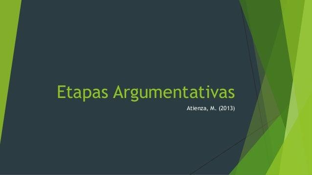 Etapas Argumentativas Atienza, M. (2013)