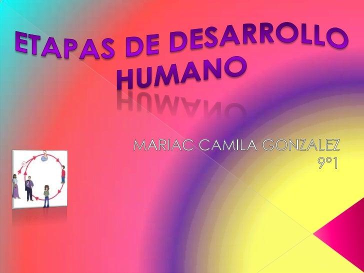 ETAPAS DE DESARROLLO HUMANO<br />MARIAC CAMILA GONZALEZ<br />9°1<br />