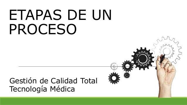 ETAPAS DE UN PROCESO Gestión de Calidad Total Tecnología Médica