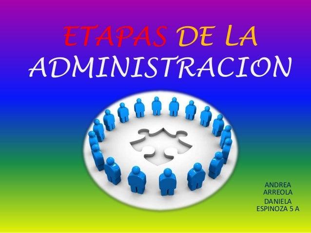 ETAPAS DE LAADMINISTRACION              ANDREA              ARREOLA              DANIELA            ESPINOZA 5 A