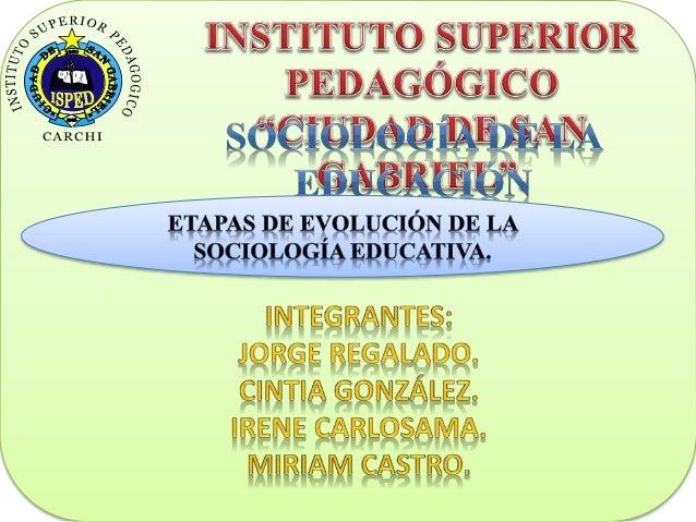 ETAPAS DE EVOLUCION DE LA SOCIOLOGIA EDUCATIVA. PLURALISMO ESTRUCTURALISMO DEMOGRAFÍA SOCIEDAD MÉTODO CIENTÍFICO SOCIALIZA...