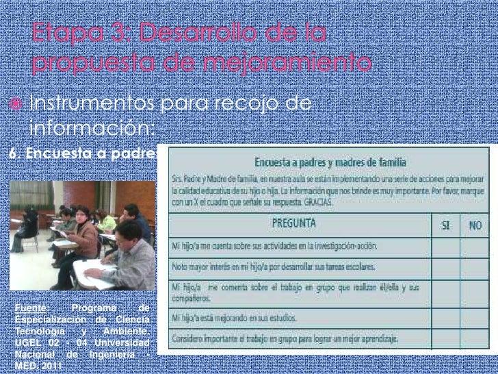 Etapa 3: Desarrollo de la propuesta de mejoramiento<br />Instrumentos para recojo de información:<br />6. Encuesta a padre...