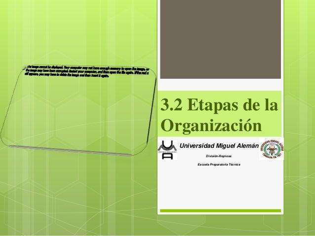 3.2 Etapas de laOrganización  Universidad Miguel Alemán            División-Reynosa       Escuela Preparatoria Técnica