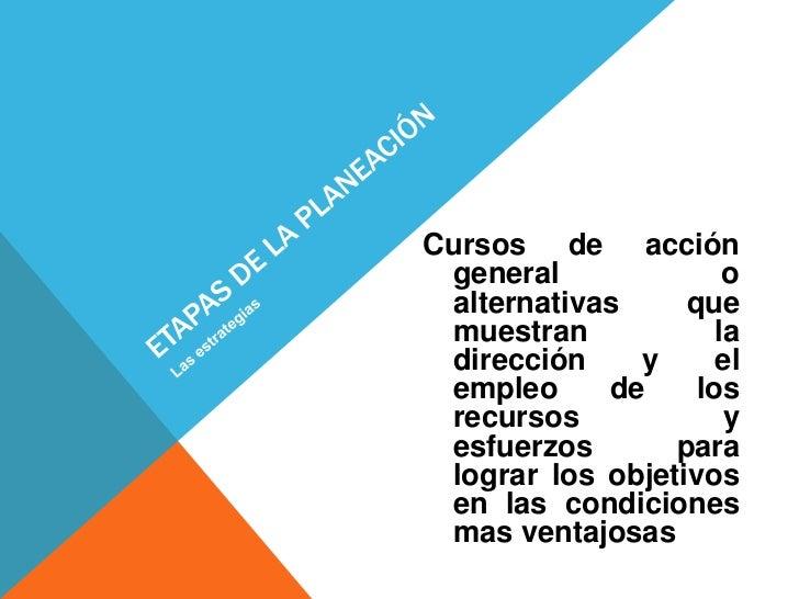 Cursos de acción general              o alternativas     que muestran            la dirección    y      el empleo     de  ...
