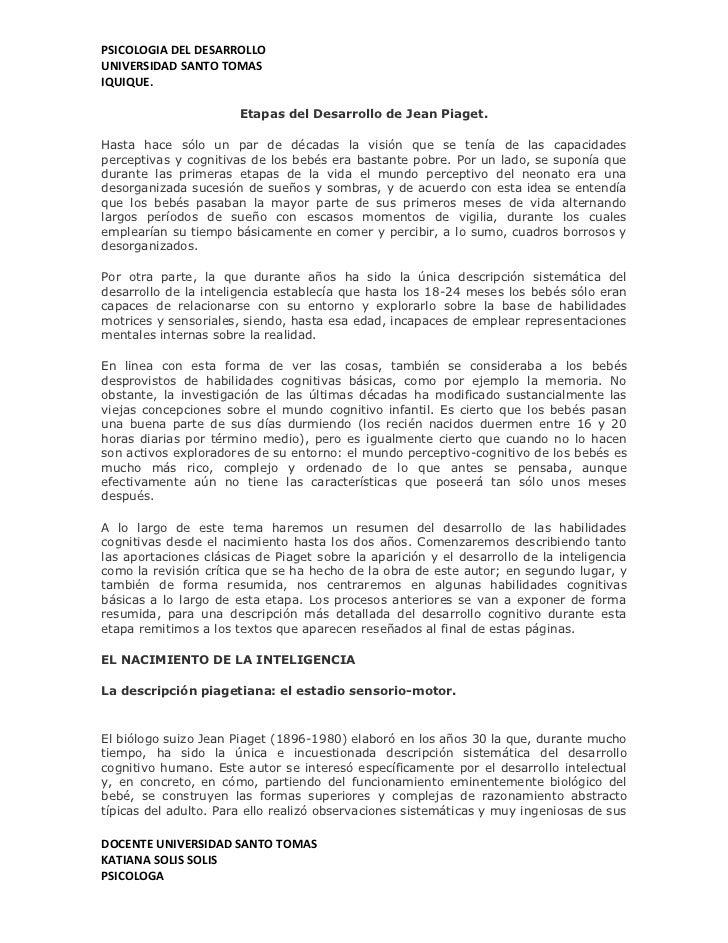 PSICOLOGIA DEL DESARROLLOUNIVERSIDAD SANTO TOMASIQUIQUE.                       Etapas del Desarrollo de Jean Piaget.Hasta ...