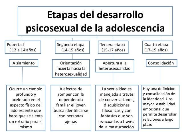 Etapas del desarrollo psicosexual de la adolescencia Pubertad ( 12 a 14 años) Ocurre un cambio profundo y acelerado en el ...