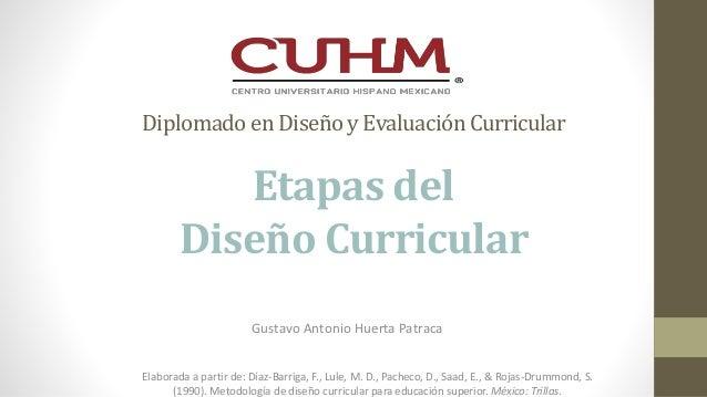 Diplomadoen Diseñoy EvaluaciónCurricular Etapas del Diseño Curricular Gustavo Antonio Huerta Patraca Elaborada a partir de...