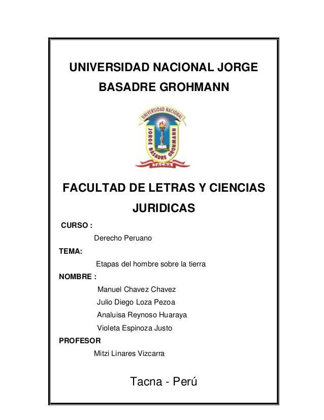 UNIVERSIDAD NACIONAL JORGE BASADRE GROHMANN FACULTAD DE LETRAS Y CIENCIAS JURIDICAS CURSO : Derecho Peruano TEMA: Etapas d...