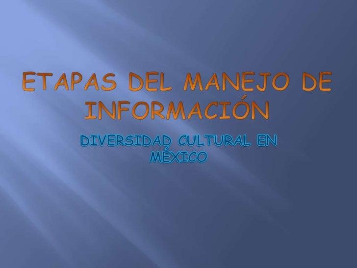 E l tema que escogí es la diversidad cultural   en México y realmente esta etapa del  manejo de información es el mas fáci...