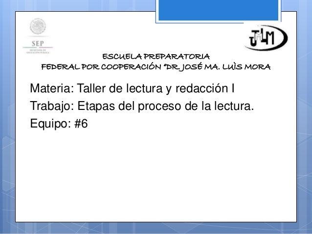 Etapas del proceso de la lectura Slide 2