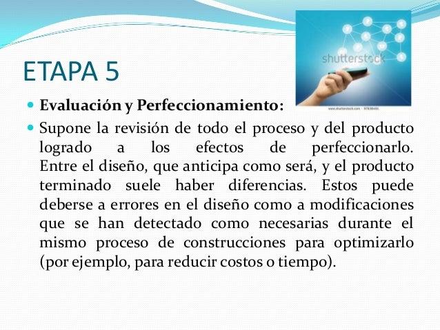 ETAPA 5  Evaluación y Perfeccionamiento:  Supone la revisión de todo el proceso y del producto  logrado a los efectos de...