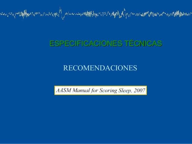 ESPECIFICACIONES TÉCNICAS   RECOMENDACIONES