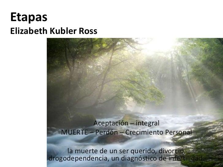 EtapasElizabeth Kubler Ross                    Aceptación – integral            MUERTE – Perdón – Crecimiento Personal    ...