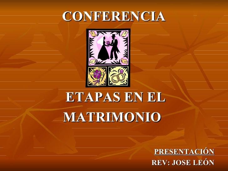 <ul><li>CONFERENCIA </li></ul><ul><li>ETAPAS EN EL </li></ul><ul><li>MATRIMONIO  </li></ul><ul><li>PRESENTACIÓN </li></ul>...