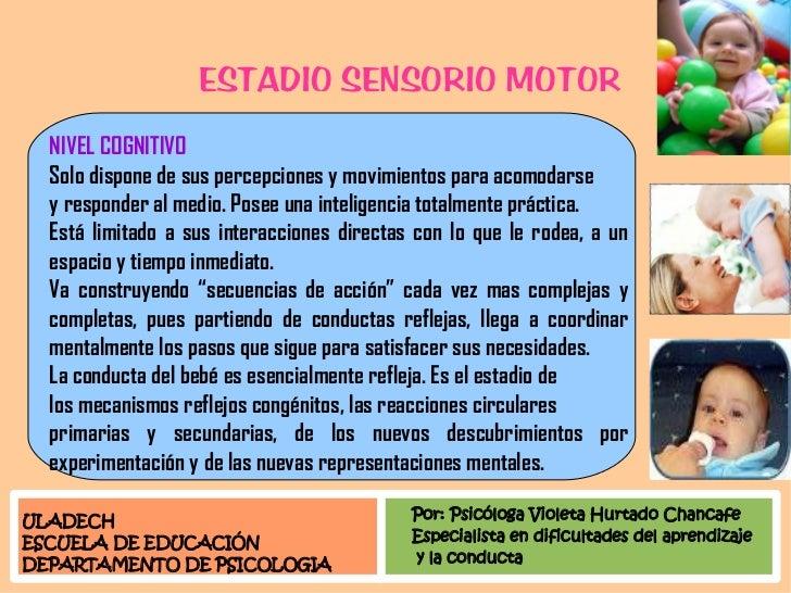 ESTADIO SENSORIO MOTOR   NIVEL COGNITIVO   Solo dispone de sus percepciones y movimientos para acomodarse   y responder al...