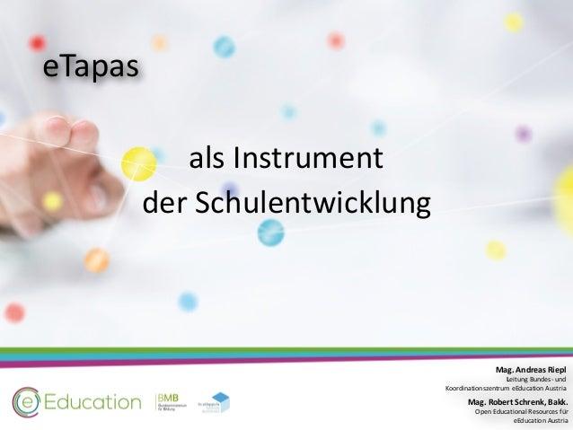 e-Tapas als Instrument der Schulentwicklung Slide 2