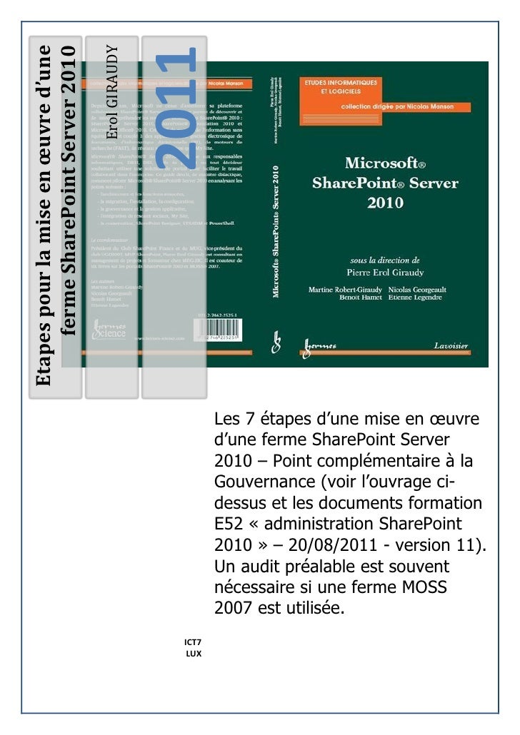 2011Etapes pour la mise en œuvre d'une                                     Erol GIRAUDY     ferme SharePoint Server 2010  ...