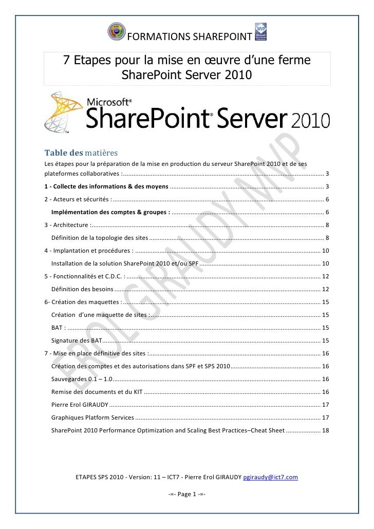 l'installation de sharepoint 2010 étape par étape Windows 7