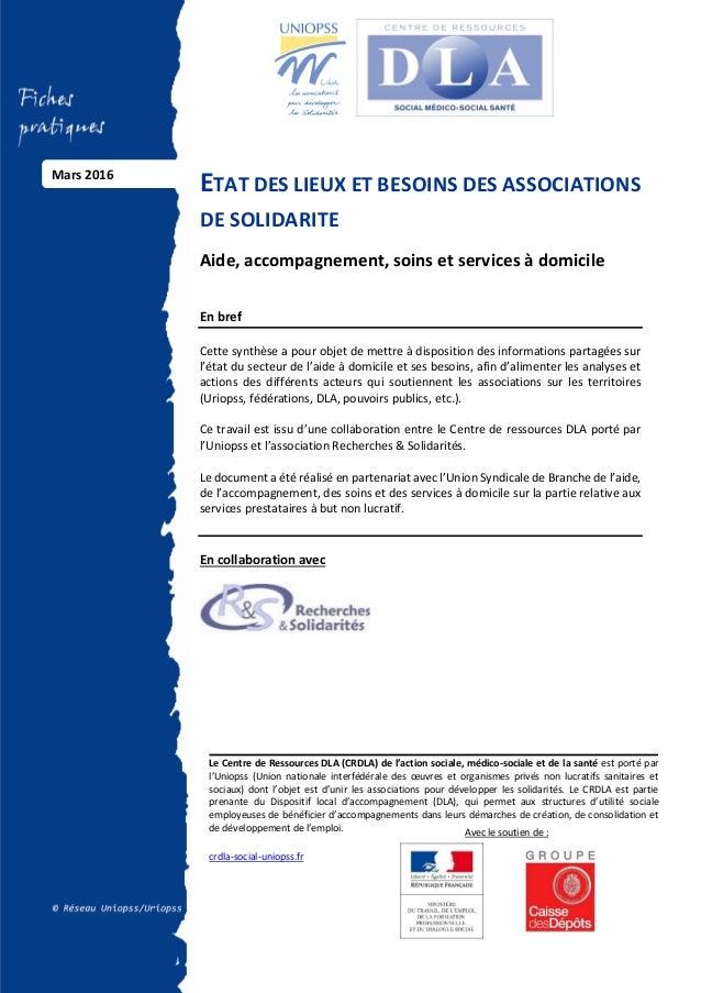 Vignette du document Etat des lieux et besoins et associations de solidarité. Aide, accompagnement, soins et services à domicile