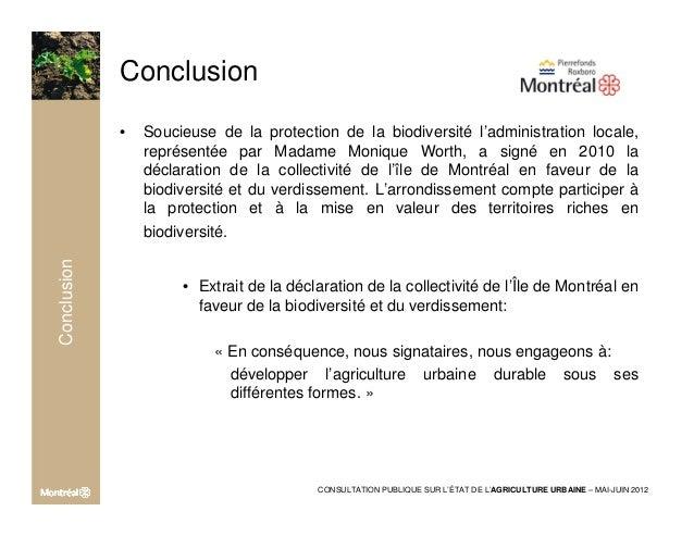 Etat de l'agriculture urbaine à Montréal - Présentation arrondissement pierrefonds roxboro