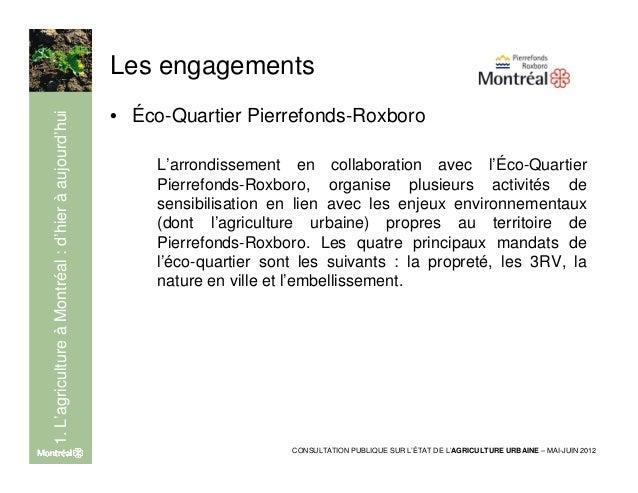 Les engagements                                                     • Activités organisées ou soutenues par1. L'agricultur...