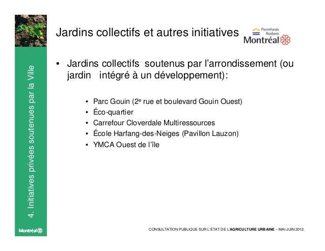 4. Initiatives privées soutenues par la Ville   Jardins collectifs et autres initiatives                                  ...