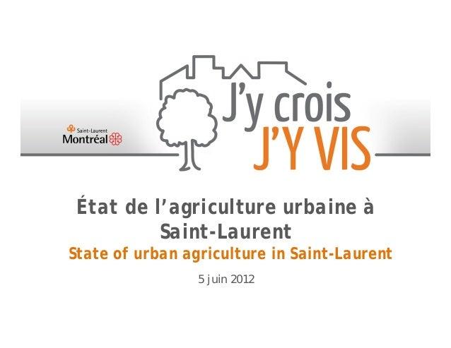 État de l'agriculture urbaine à          Saint-LaurentState of urban agriculture in Saint-Laurent                 5 juin 2...