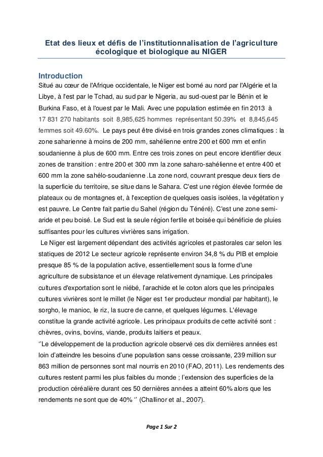 Page 1 Sur 2 Etat des lieux et défis de l'institutionnalisation de l'agriculture écologique et biologique au NIGER Introdu...