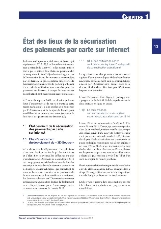 la finance solidaire ou éthique 13 Chapitre 1 13 Rapport annuel de l'Observatoire de la sécurité des cartes de paiement | ...